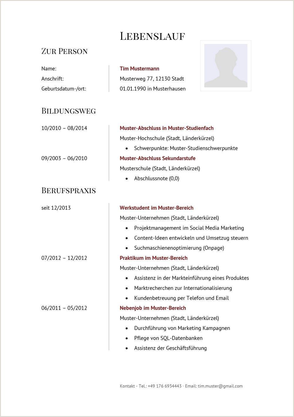 Lebenslauf Muster Tabelle Tabellarischer Lebenslauf – Muster Vorlagen