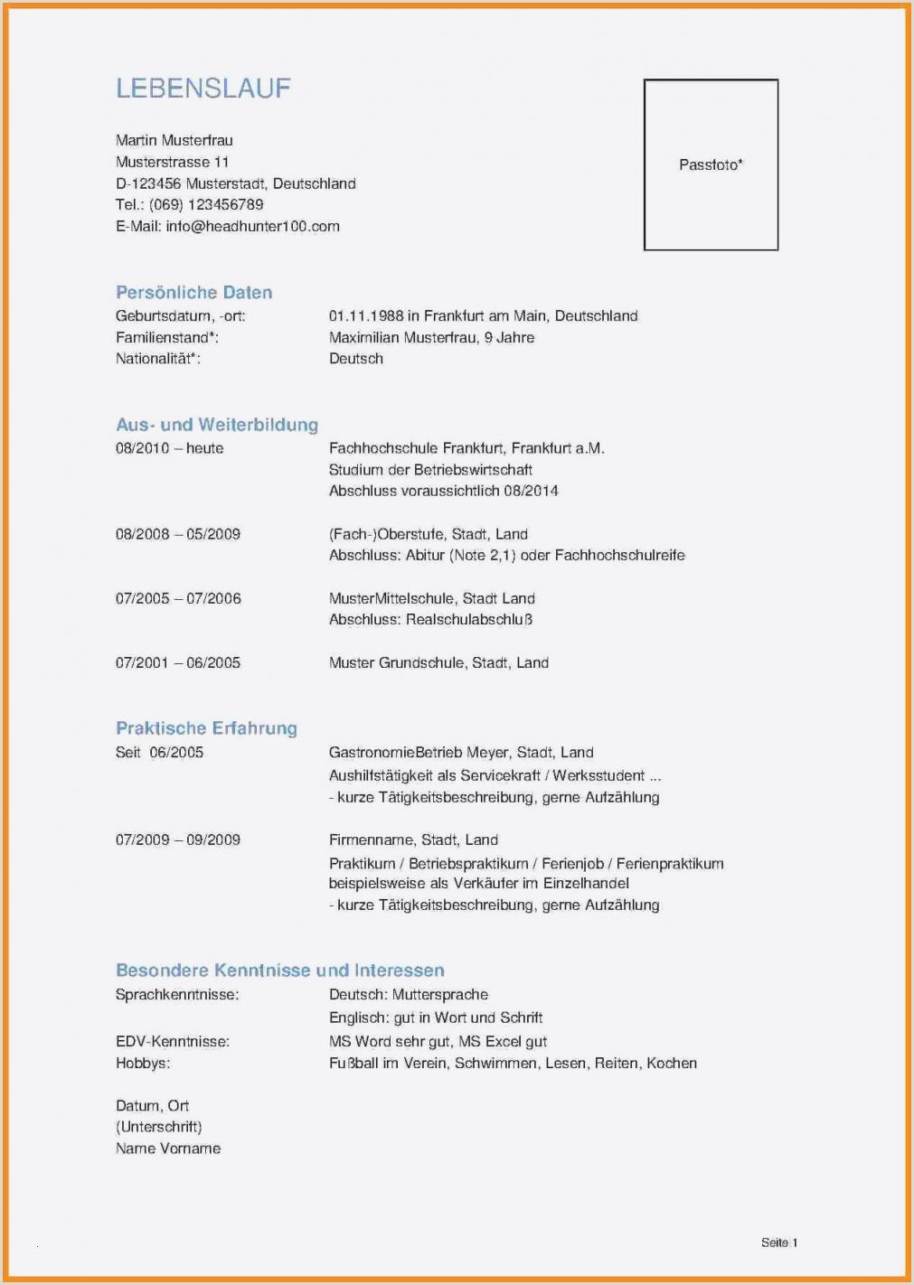 Lebenslauf Muster Unterschreiben 14 Unterschrift Lebenslauf