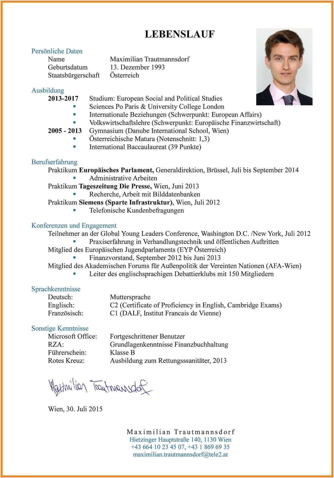 Lebenslauf Muster Unterschrift 14 Lebenslauf Unterschrift