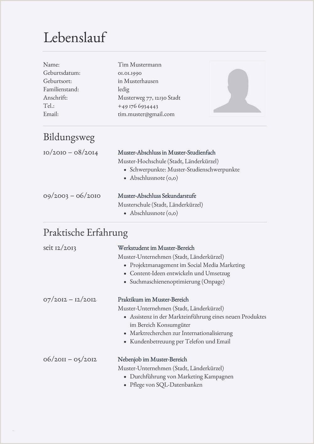 Lebenslauf Muster Voraussichtlicher Abschluss 18 Lebenslauf Muster Deutschland