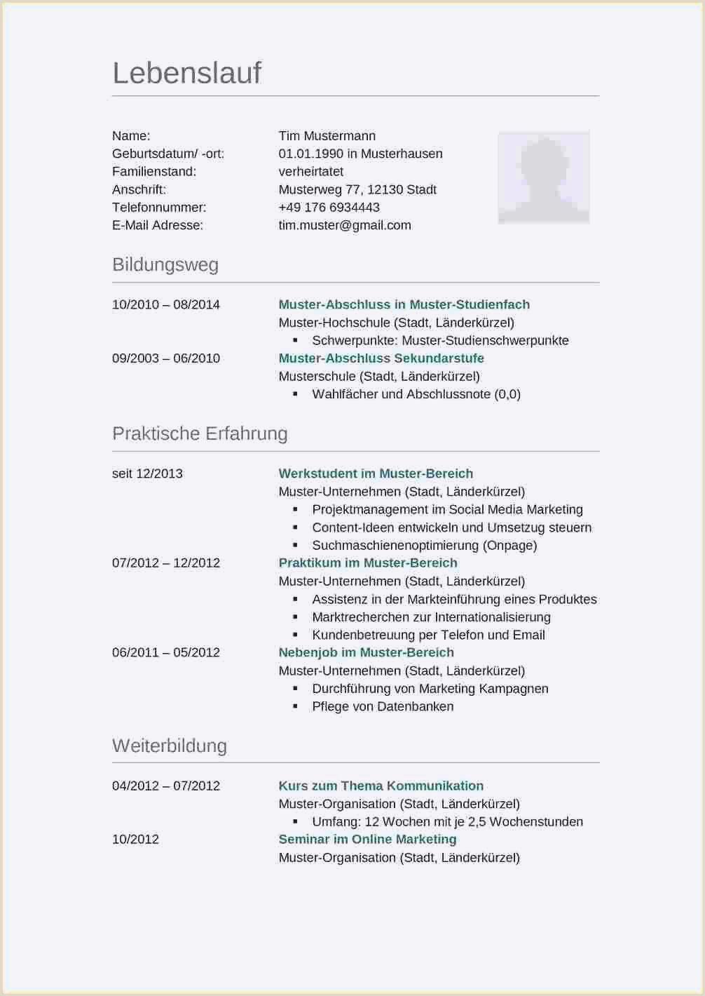 Lebenslauf Muster Voraussichtlicher Abschluss 19 Lebenslauf Muster Doc
