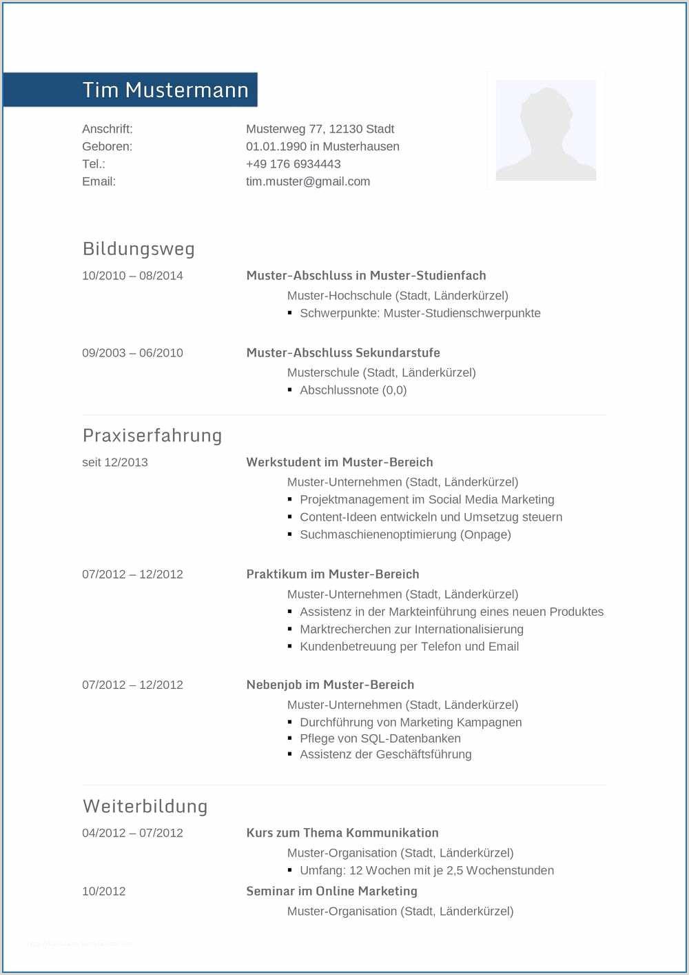 Lebenslauf Muster Voraussichtlicher Abschluss Lebenslauf Vorlage Great Lebenslauf Muster Für Informatiker