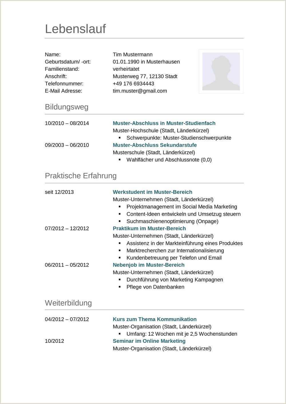 Lebenslauf Muster Vorlage Für Schüler 1 Mahnung Muster 2019 01