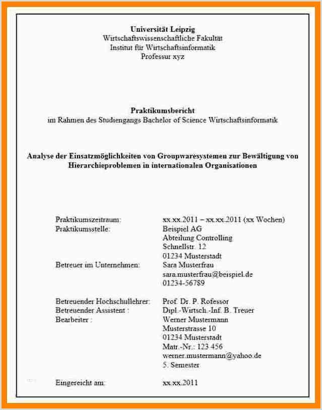 Lebenslauf Muster Wirtschaftsinformatik 14 Praktikumsmappe Deckblatt Vorlage Word