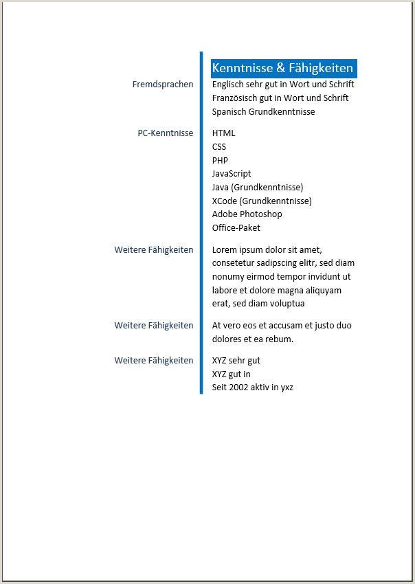 Lebenslauf Muster Word Einfach Lebenslaufmuster Einfach 5 1