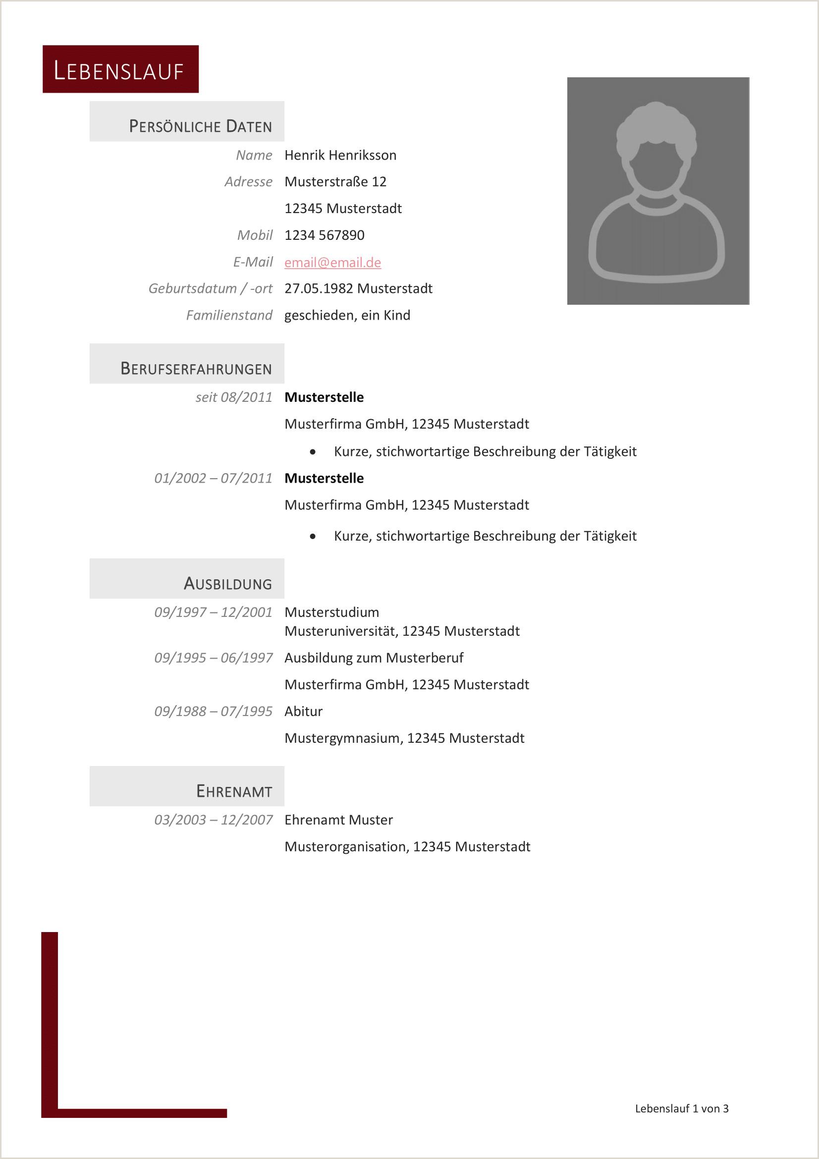 Lebenslauf Vorlage Download Neu Lebenslauf Muster 34