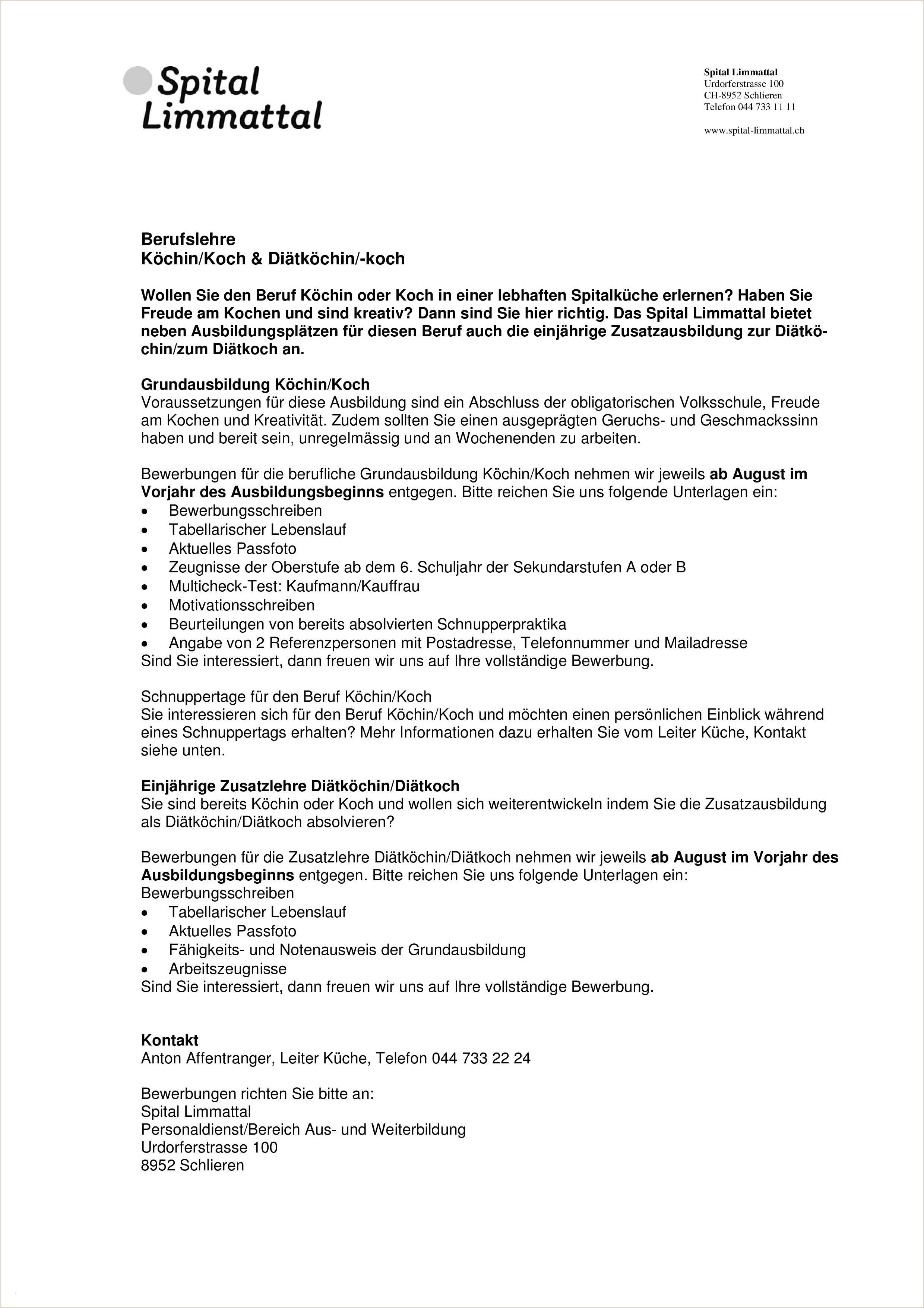 Fresh Bewerbungsschreiben Schnuppertage Vorlage 2019