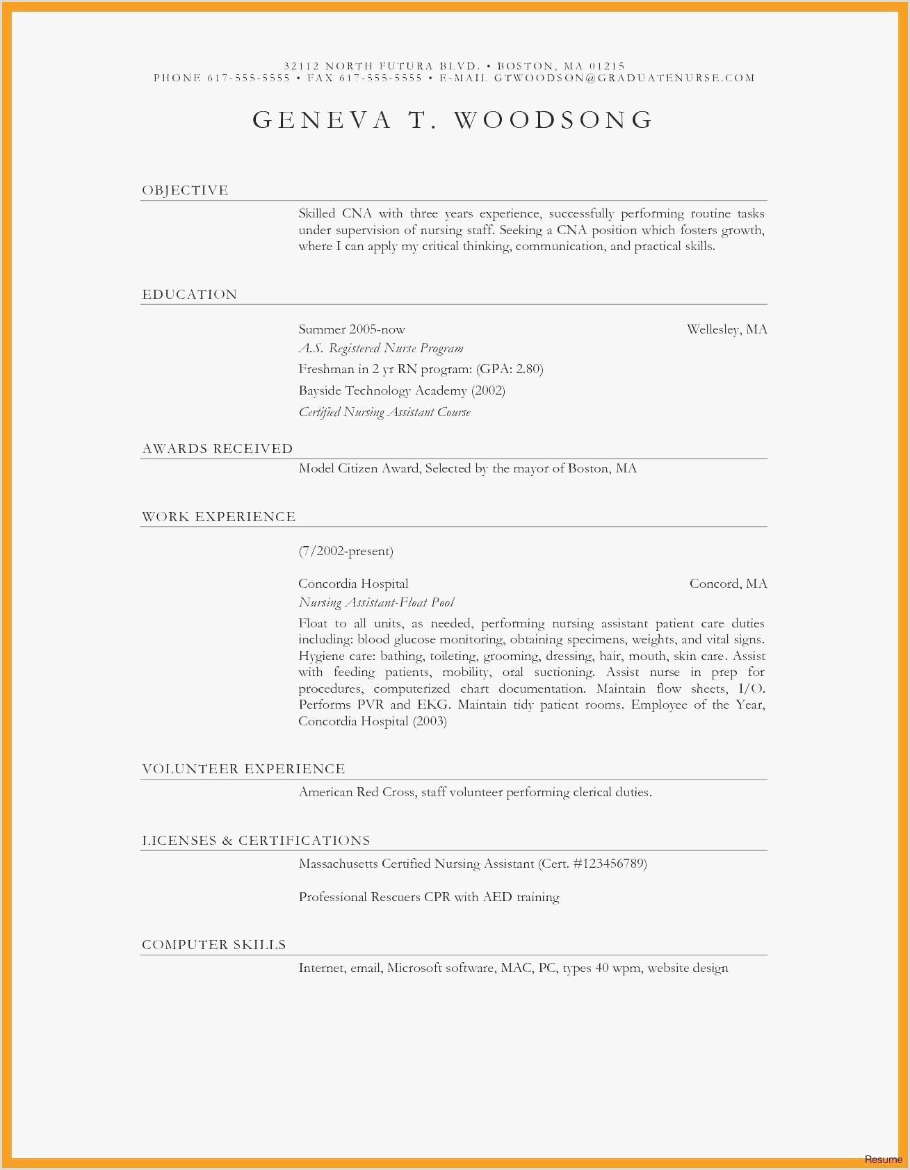 Free Sample Resume for Certified Nursing assistant – Kizi