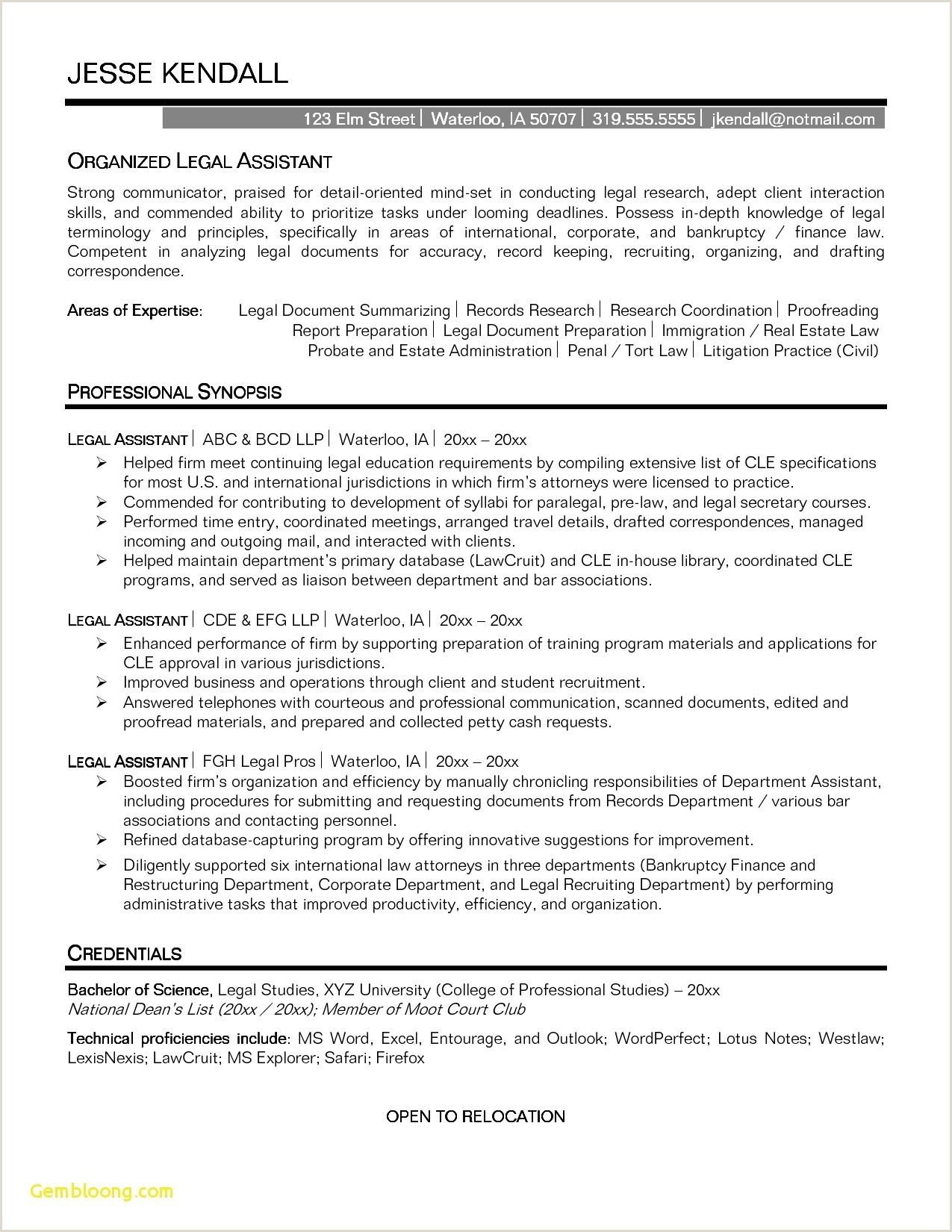 Unique Sample Legal assistant Resume