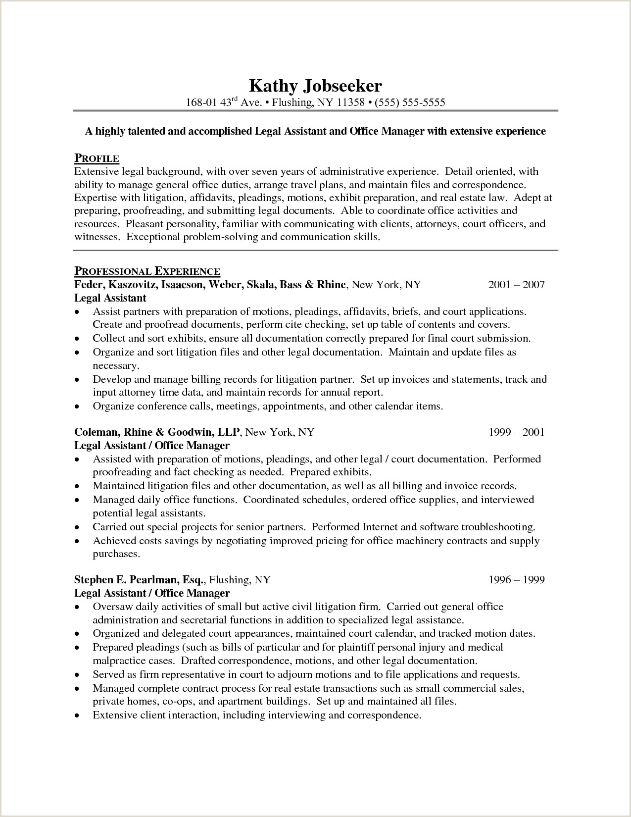 Sample Resume For Legal Assistants Assistant Info