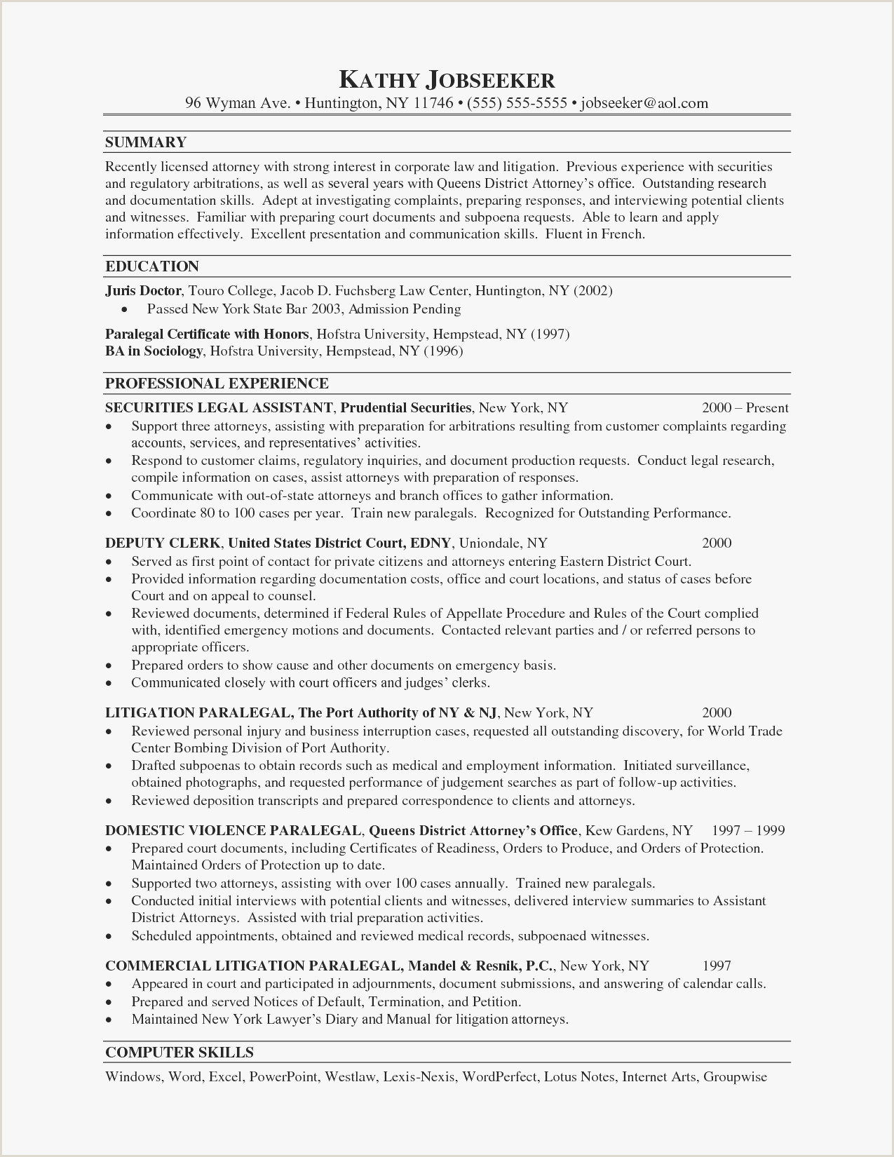 Legal Secretary Resume Examples Elegant assistant District attorney Resume Example – 50ger