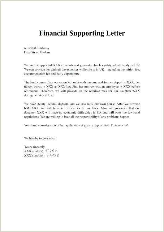 Sample Letter Financial Support For Student Visa