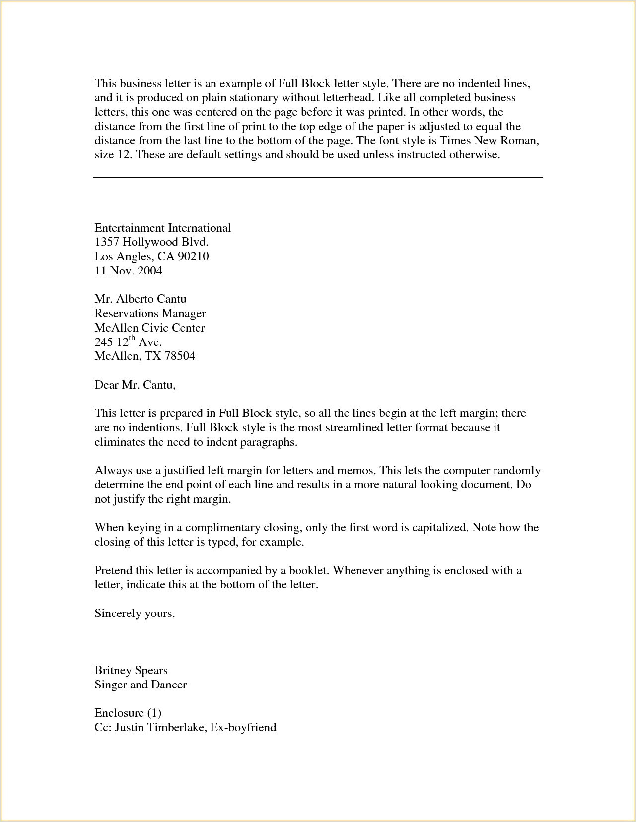 Letter format with Cc and Enclosure 10 Examples Persuasive Business Letters