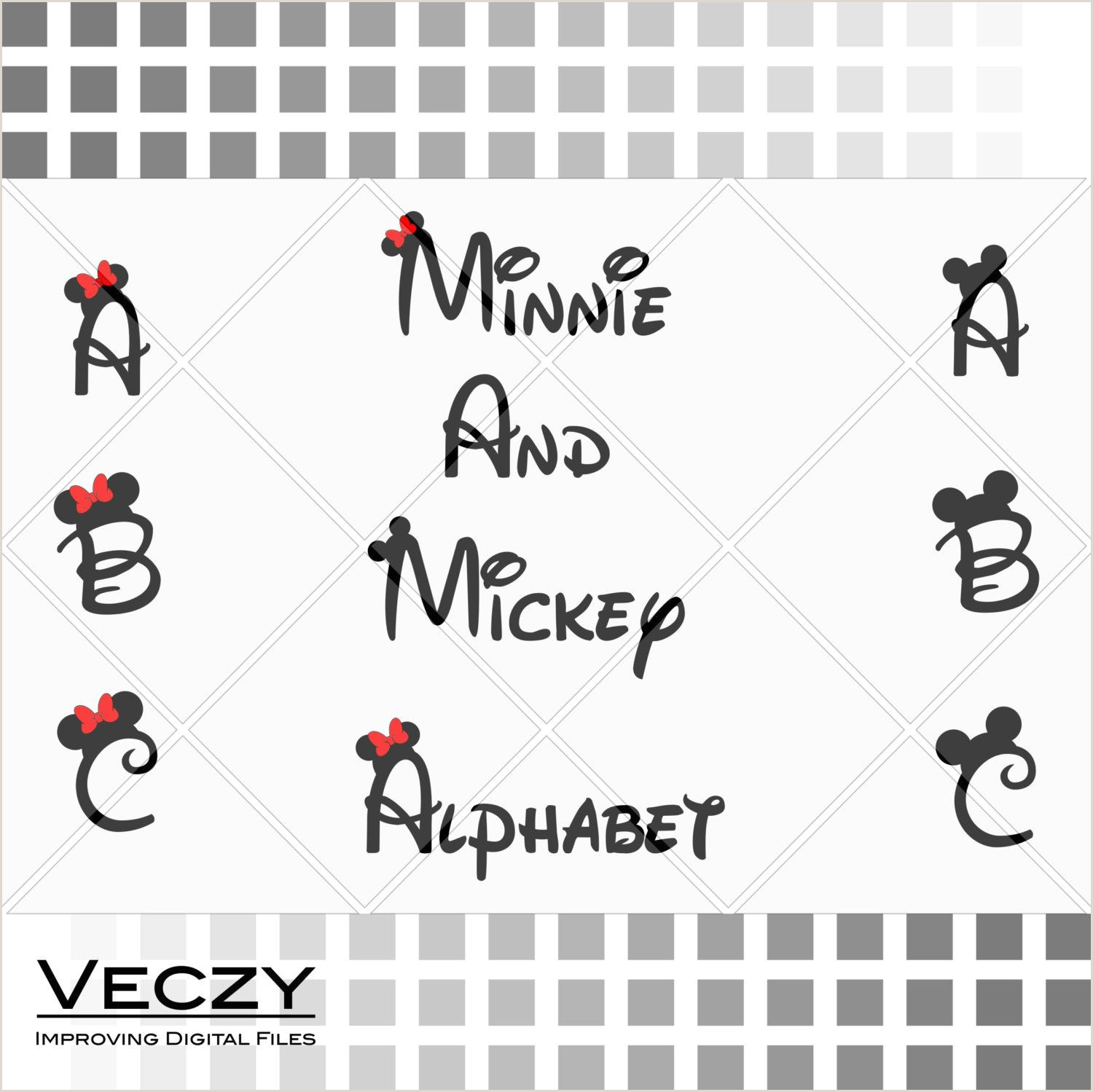 Letter From Mickey Mouse Template Mickey and Minnie Mouse Font Walt Disney Font Alphabet Svg