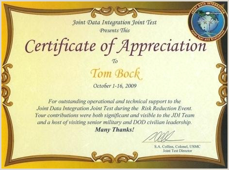 Letter Of Appreciation Usmc Bock Awards Military Certificate Appreciation Examples
