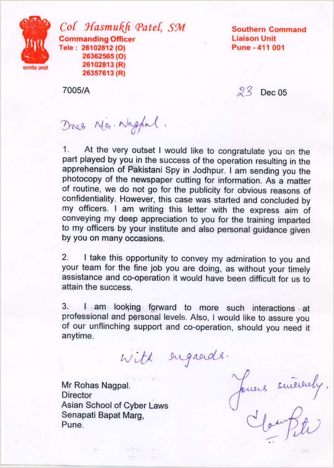 Letter of appreciation from the Indian Army for help with