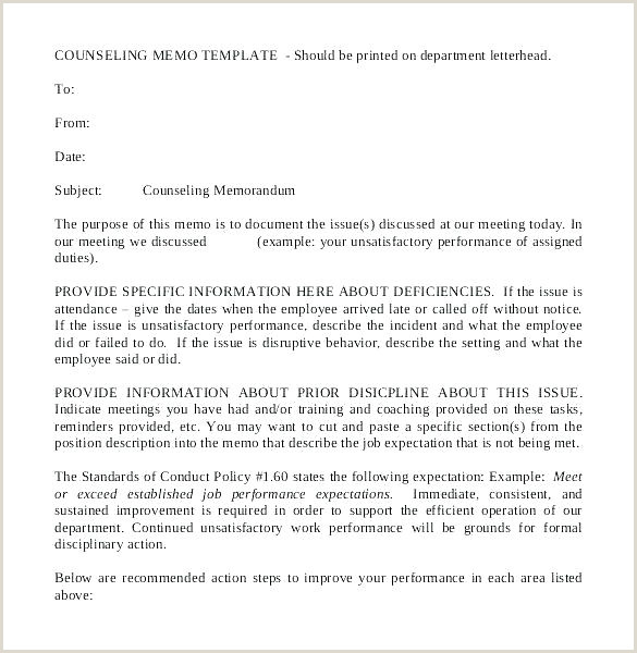 Letter Of Counseling Example formal Counseling Template Sample Rebuttal Letter