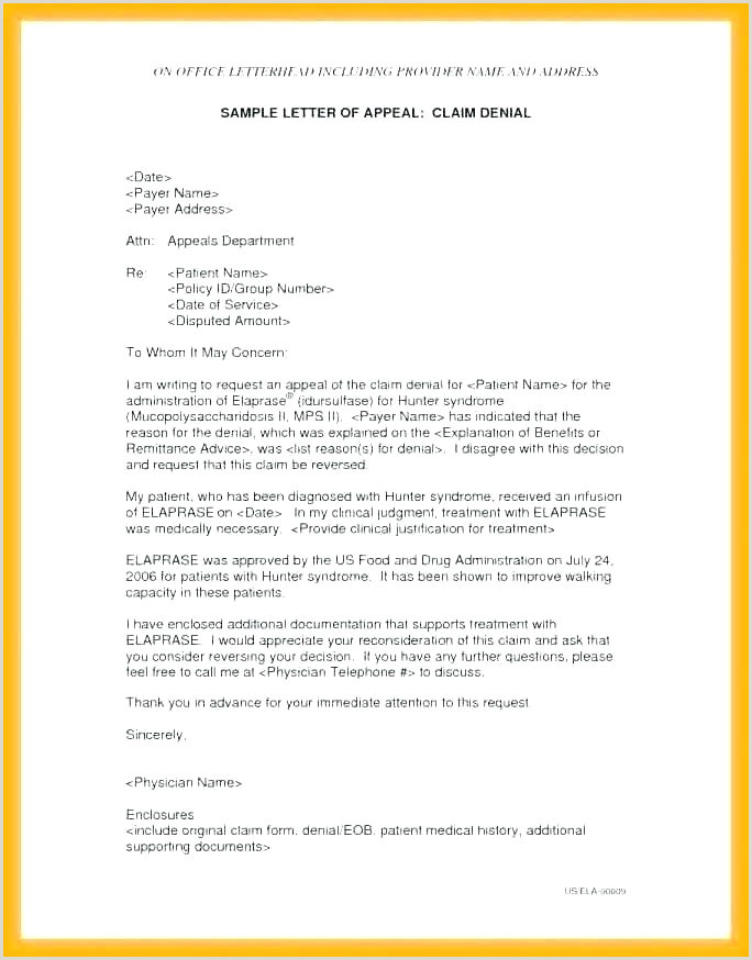 Letter Of Disagreement Medical Appeal Letter Template