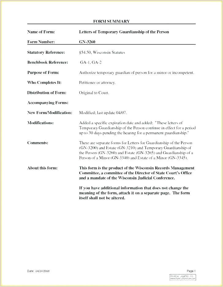 Letter Of Guardianship Sample Legal Guardianship Letter Template