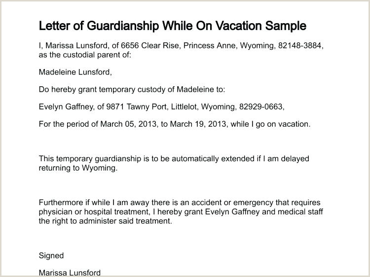 Sample Letters Temporary Guardianship Letter Template For