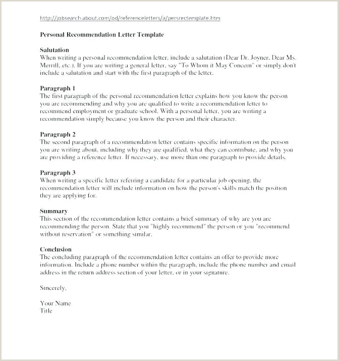 Personal Reference Letter Format Re mendation For School