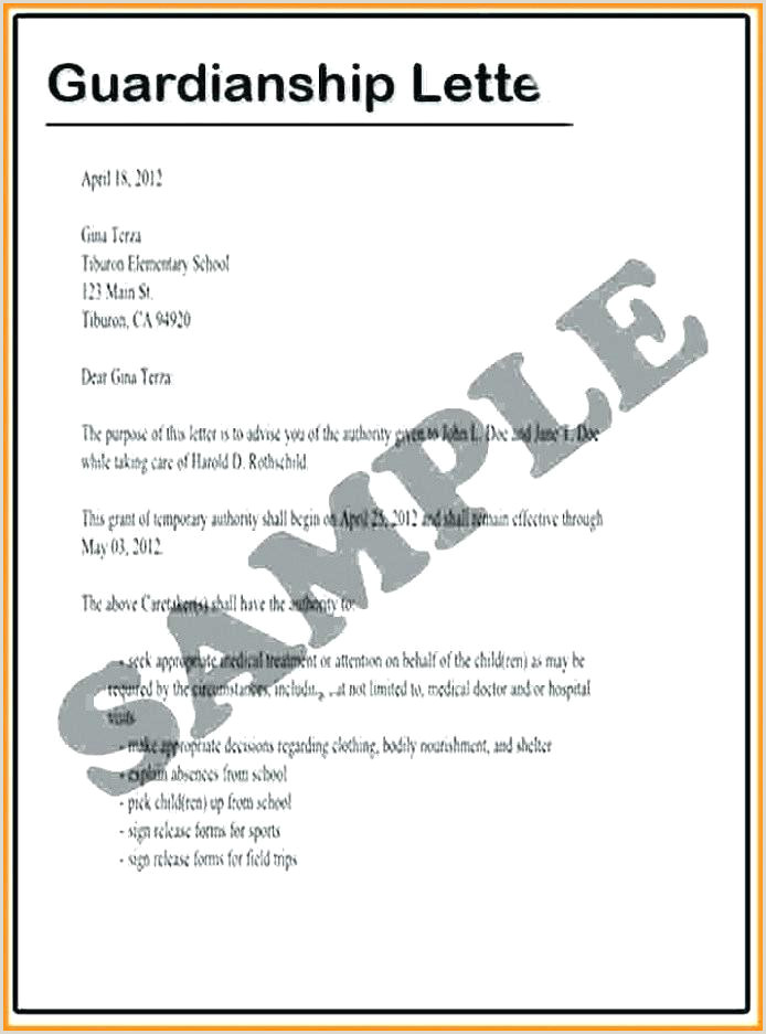 Free Temporary Guardianship Child Form Legal Letter Template