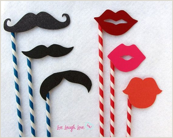 Mustaches and Lips on Paper Straw Set by