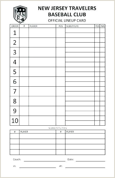Little League Score Sheet Printable Dugout Lineup Card Template Little League Excel Cards for