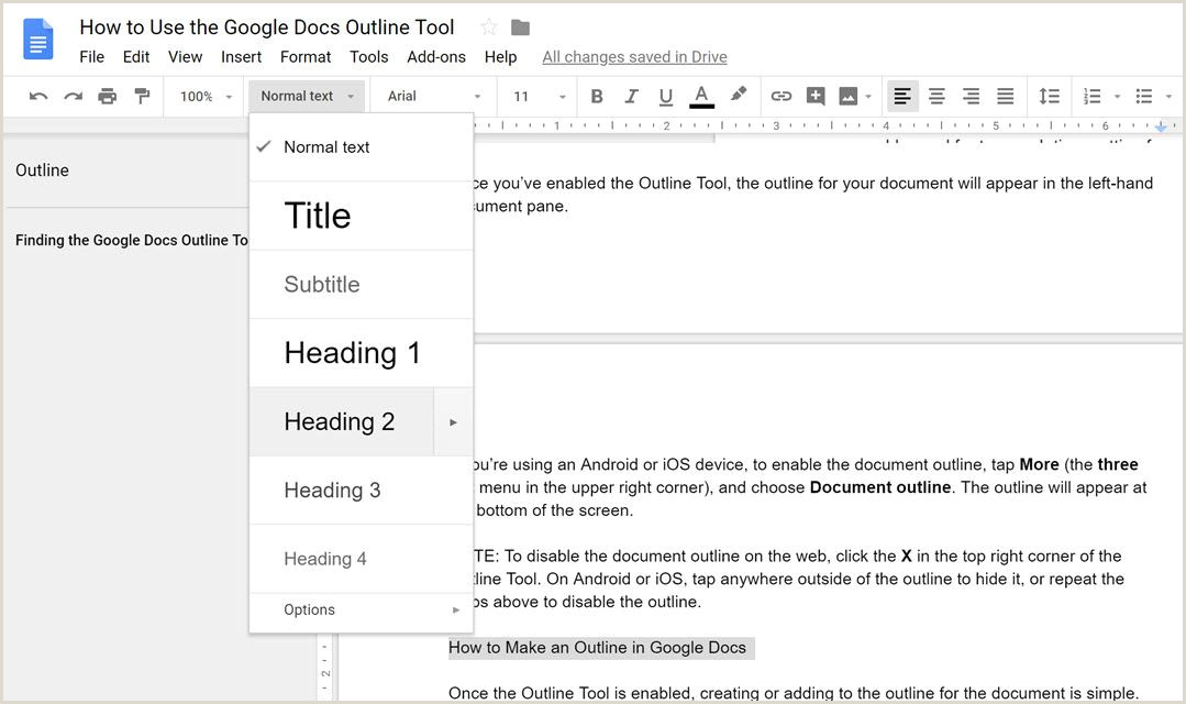 How to Use the Google Docs Outline Tool