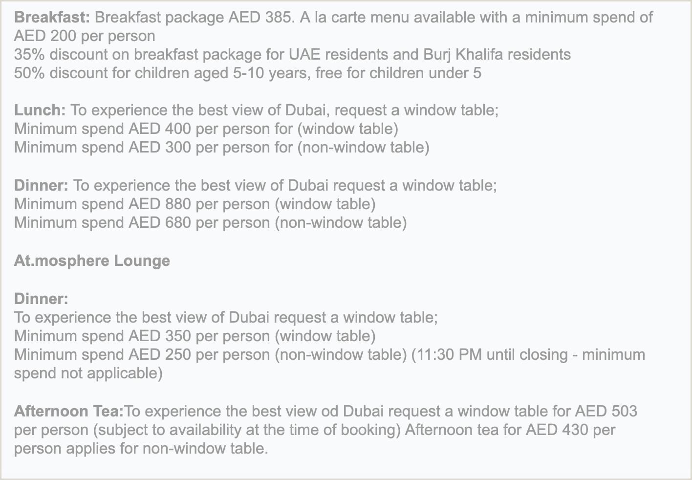 Dining at Atsphere Atop the Burj Khalifa in Dubai