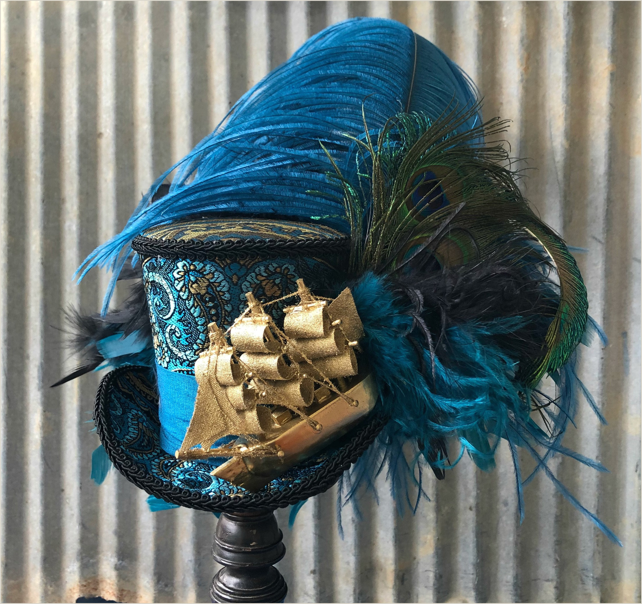 Mad Hatter Hat Card Pirate Ship Mini top Hat Blue and Gold Ship Mad Hatter Hat Alice In Wonderland Mini top Hat Tea Party Mad Hatter Hat Steampunk Hat