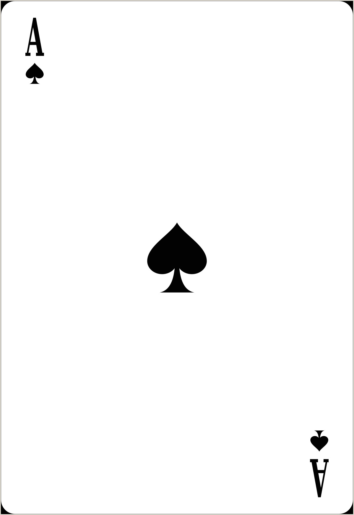 Make Your Own Playing Cards Template Ace Of Spades
