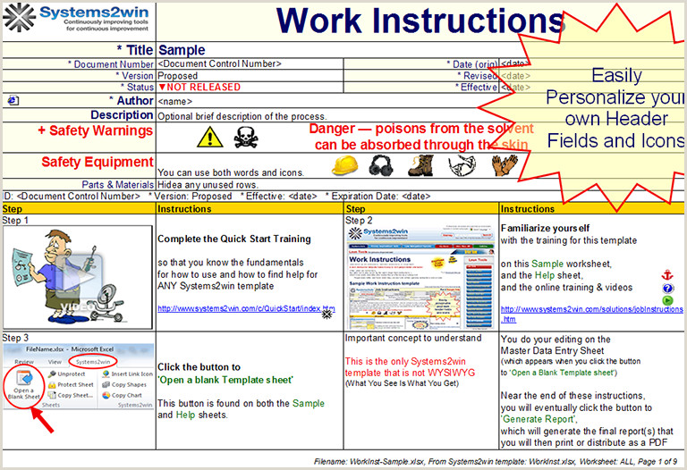 Manufacturing Work Instructions Examples Manufacturing Instructions Template Serpto