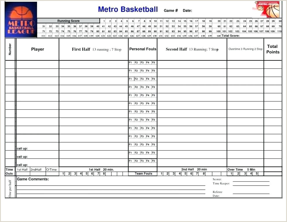 Mark V Basketball Scorebook Template Basketball Score Sheet Template Excel Roster Scorecard E
