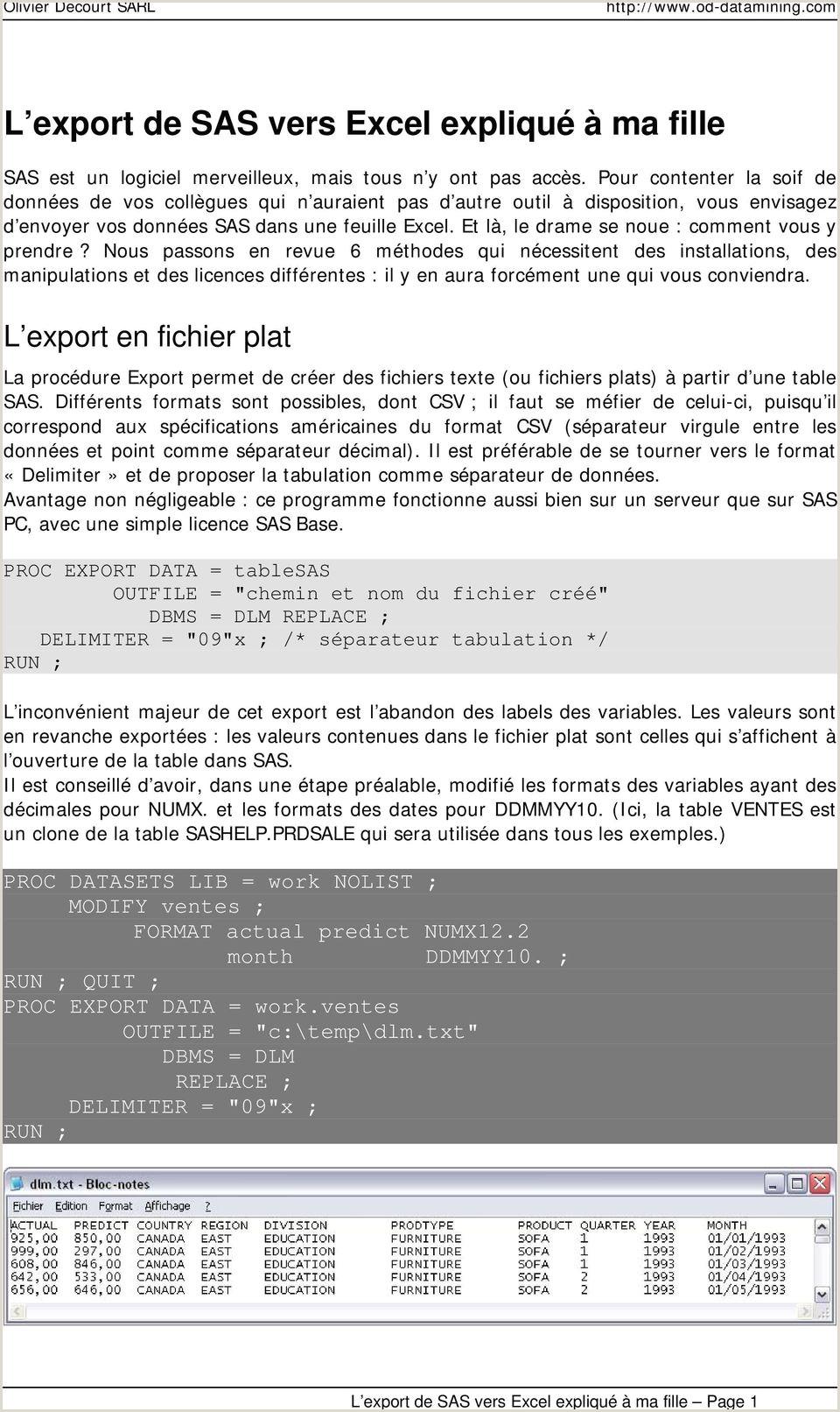 Markup formula In Excel L Export De Sas Vers Excel Expliqué  Ma Fille Pdf