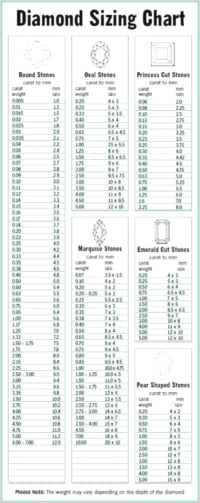 Marquise Cut Diamond Size Chart 76 Efficient Size Chart for Diamond In Mm