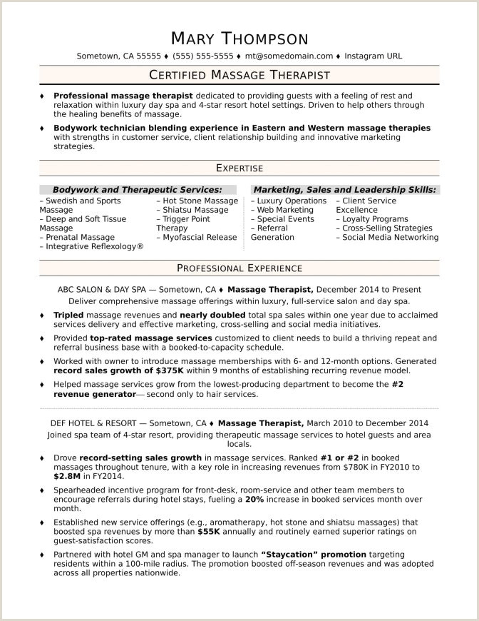 Massage therapist Resume Cover Letter Examples for Massage therapist Resumes Rem
