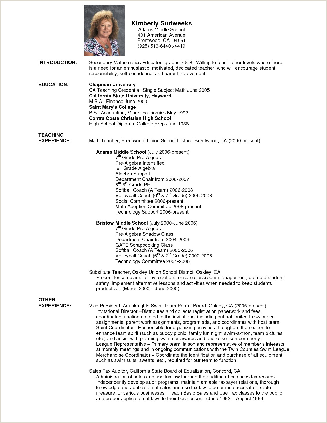 Teacher Resume Template Free Fresh Free Resume Templates