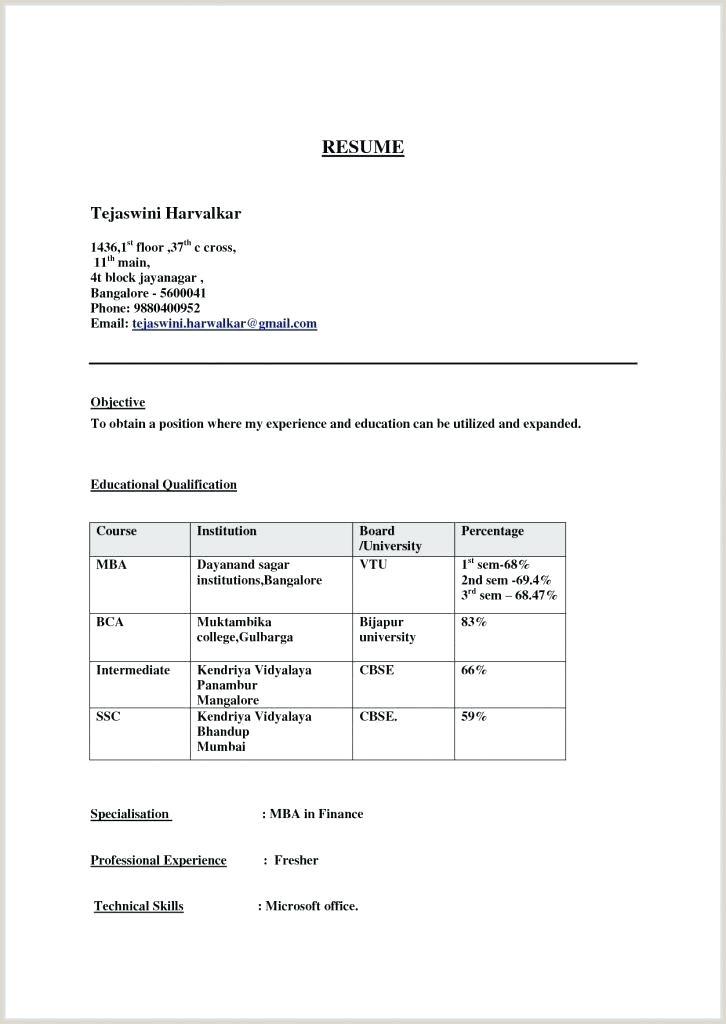 Mba Fresher Cv format Doc Mba Finance Resume Sample – Joefitnessstore