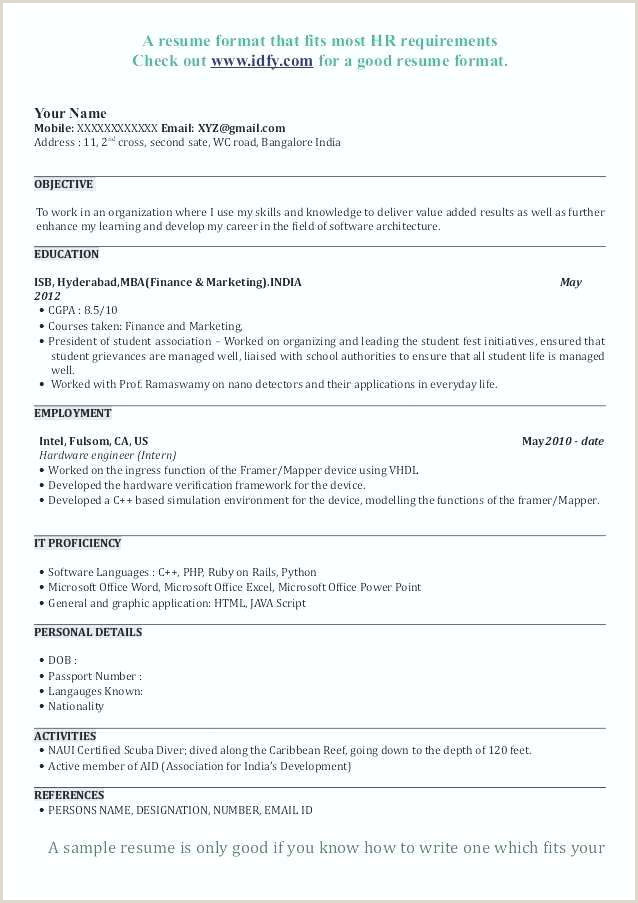 Mba Fresher Cv Format Doc Resume Template Application Sample New For Mba Mays Business