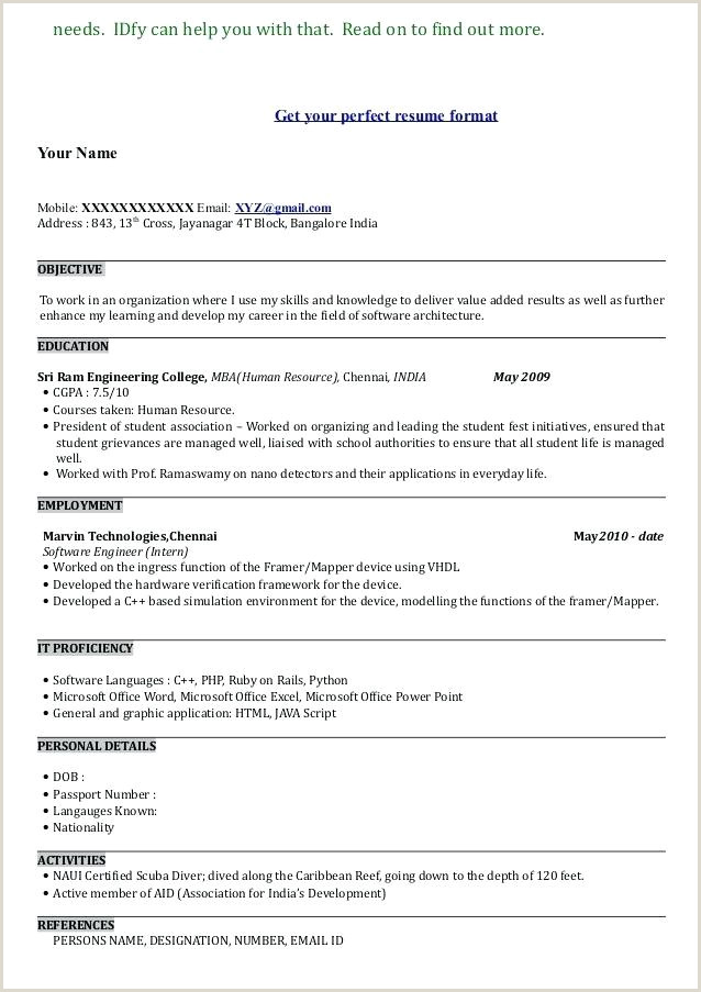 Mba Fresher Resume format Free Download Mba Resume Template