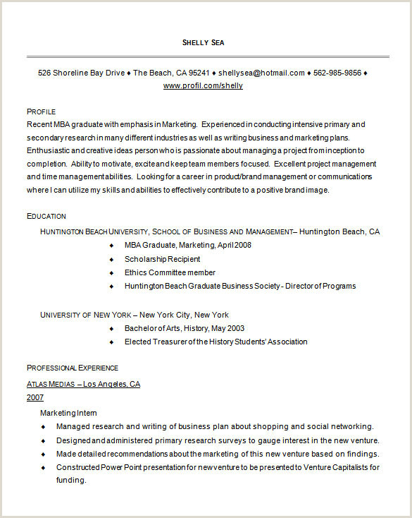 Mba Fresher Resume format Free Download Sample Resume for Mba Graduate Resume Sample