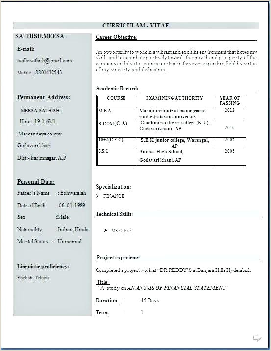 Mba Fresher Resume format Free Download Sample Resume format for Mba Finance Freshers