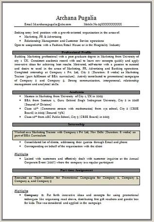 Mba Fresher Resume format Pdf Cv Samples for Freshers Mba