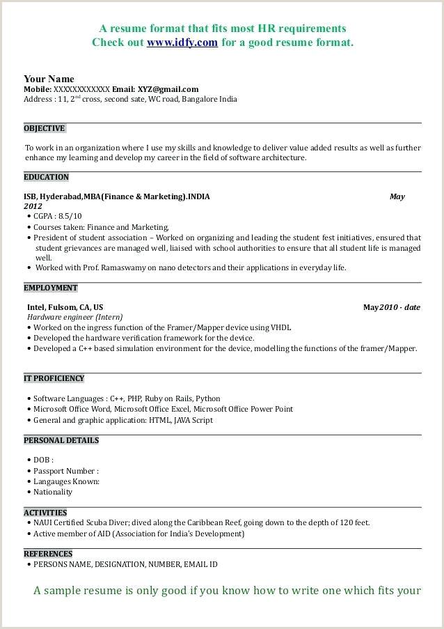 Mba Fresher Resume format Pdf Freshers Resume Samples – Growthnotes