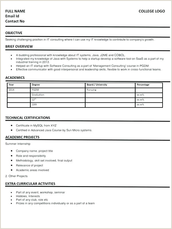 Mba Fresher Resume format Pdf Resume Templates for Mba Freshers – thead Pany