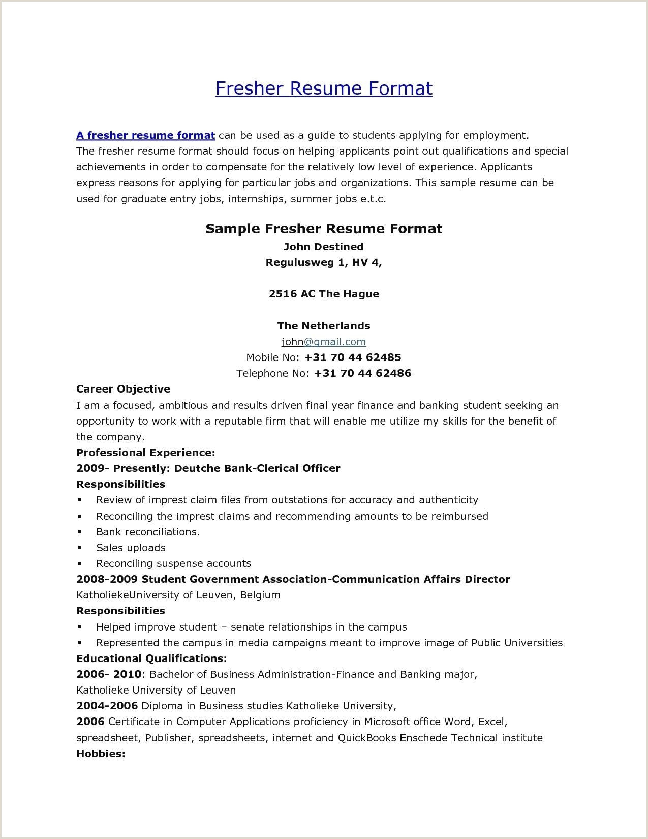 Mba Hr Fresher Resume Format Doc Download Sample Resume Format For Mba Hr Freshers Valid Resume