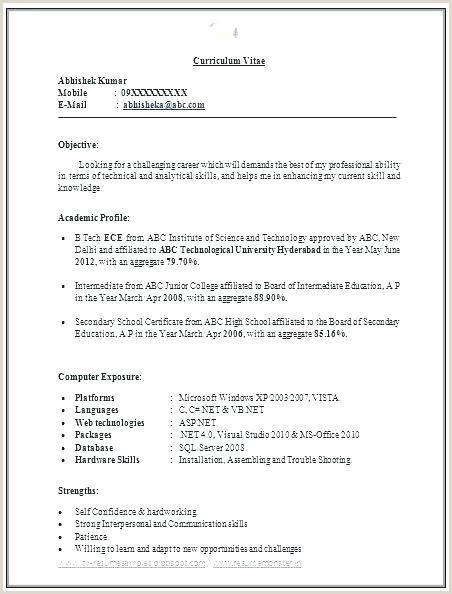 Mca Fresher Cv Format Free Download Best Resume Format For B Freshers Sample Resume For