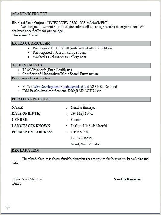 Mca Fresher Cv Format Free Download Pdf Format Resume – Paknts