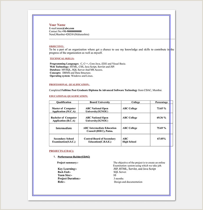 Mca Fresher Cv Format Free Download Resume Objectives 35 Statements Samples & Examples